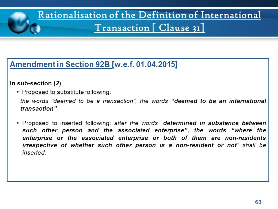 Rationalisation of the Definition of International Transaction [ Clause 31]